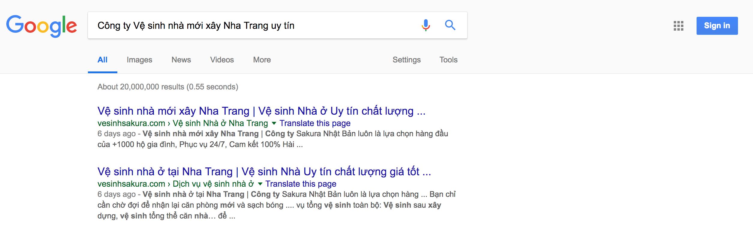 Dịch vụ Vệ sinh Công nghiệp tại Nha Trang Sakura với Top 1 Google